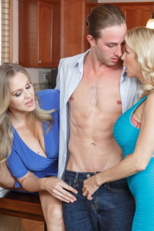 Alexis Fawx and Julia Ann fucking in the kitchen with son's friend